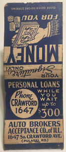 Vintage Matchbook Cover $300 Personal Loan Chicago Illinois! d845