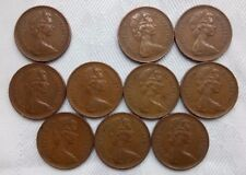 NEW PENNY COINS 1971-81 X 10,ELIZABETH II,2ND BUST.WELL PRESERVE,UNITED KINGDOM