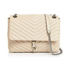 NWT Rebecca Minkoff Edie Quilted Leather Med Shoulder Bag Clay Beige AUTHENTIC