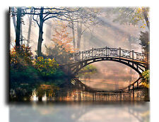 "Large Wall Art Canvas Picture Print of River Bridge Framed 20""x30"""