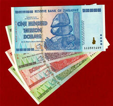 Zimbabwe 4 Notes 10, 20, 50 & 100 TRILLION Dollars 2008 UNC