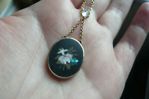 Superb Victorian Pietra Dura, Blue Moonstone and 9 Carat Gold Necklace
