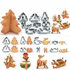 New 8pcs 3D Christmas Cookie Cutters Set Cake Decoration Stainless Steel Biscuit