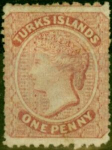 Turks Islands 1873 1d Dull Rose-Lake SG4 Fine Unused stamp