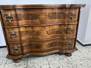 Original Nussbaum Intarsien Barock Kommode Schrank Sideboard Anrichte Antik