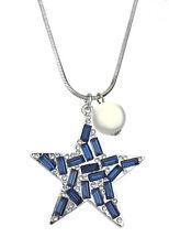 Collar Estrella Azul Plata Perla Blanco by Ella Jonte Largo de