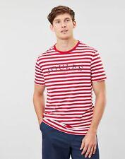 Joules Mens Flynn Graphic Print Crew Neck T-Shirt - Cream Red Stripe