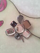 Large Mikey Silver Tone Mirror Effect Glass Brooch