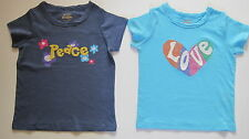Mini Boden embroidered tee shirt love or peace logo bnwot ages 1-13