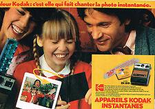 PUBLICITE ADVERTISING 014  1979   KODAK   appareil photo instantané( 2 p) EK100