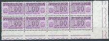 1955-81 ITALIA PACCHI IN CONCESSIONE STELLE 90 LIRE QUARTINA LUSSO MNH **