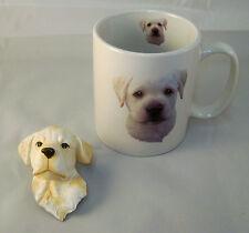Cute Yellow Labrador Reteiever Puppy Ceramic Mug and Sculptured Puppy Magnet