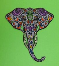 Hippy Elephant Iron On Patch Mexican Day of the Dead sugar skull African Indian