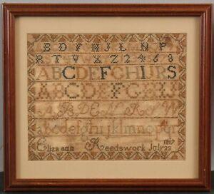 Antique 1817 American Folk Art Sampler Embroidery Alphabet, Numbers