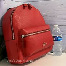 Coach Cardinal Red Pebbled Leather Medium Charlie Backpack F30550