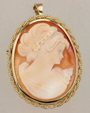 VERY ATTRACTIVE 9CT GOLD GENUINE CARVED SHELL CLASSICAL CAMEO BROOCH / PENDANT