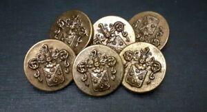 Lot 6 Boutons métal ancien armoirie blasons doré D 20mm