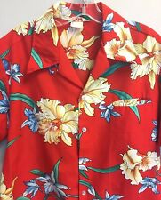 Fashions By Loke Hawaiian Shirt Vintage 1960's Red Hibiscus Floral Great Cond