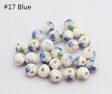 New 10Pcs 8-12mm Ceramic Porcelain Flower Round Spacer Beads Jewelry Accessory