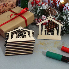 10 Wooden Christmas Nativity Blank Craft Shapes Hanging Decorations