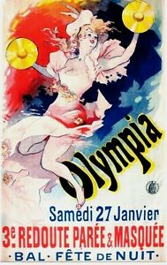 Original vintage poster OLYMPIA REVUE CABARET CARNIVAL 1892 Cheret