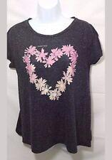 "American Eagle Women's ""Flower Child"" T-Shirt Short Sleeves Sz Med Gray Pink"
