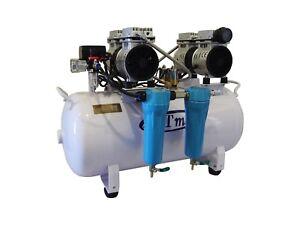 New 2 HP, 12 Gallon, Noiseless & Oil Free Dental Air Compressor w/ dryer 110v