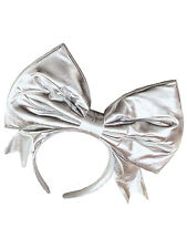 1980s Silver Metallic Bow Headband Fairytale Alice In Wonderland Fancy Dress New