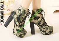 Fashion Women Military Camouflage High heel Shoes Platform Lace up Ankle boots