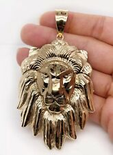 """Mens 10K Solid Yellow Gold Lion Head Face Pendant Charm 14.8 Grams, 3"""" Large"""