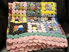 Vintage Hand Sewn Yo Yo Design Quilt Cotton Beautiful Colors 92 X 101 Inches
