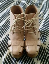 HAVANA LAST Jeffrey Campbell Leather Handmade Pink Boot Wood Platform Sz 5.5