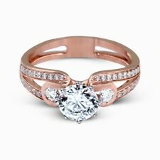 Solitaire 1.60Ct Diamond Wedding Band BIS 14K Rose Gold Engagement Rings Size P