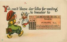 """""""You Can't Blame Folks for Transferring to"""" Auburn Illinois~Train Ticket~1914 PC"""