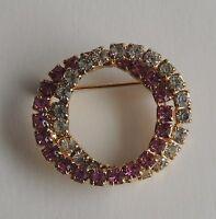 Vintage C1970/1980 Gold Pink Crystal Rhinestone Studded Brooch Pin