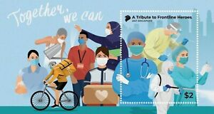 SINGAPORE 2021 VIRUS 19 A TRIBUTE TO FRONTLINE HEROES SOUVENIR SHEET STAMP MINT