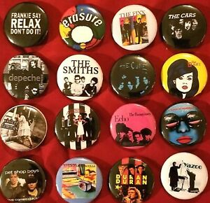 """80's Post Punk 80's New Wave Music Rock Band Buttons Pins 1"""" Pinbacks, Lot of 16"""