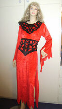 LADIES EVIL QUEEN VAMPIRESS VAMP DEVIL MEDIEVAL FANCY DRESS COSTUME M USED