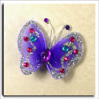 60 SMALL PINK SHEER WIRED FABRIC BUTTERFLY WITH GEMS  APPROX 3 x 3cm