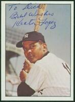 Original Autograph of Hector Lopez of the New York Yankees on a 1978 TCMA Card
