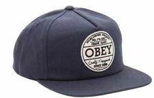 OBEY Deuce Hombre 100% Algodón Ajustable Gorra Snapback Azul Marino Nuevo