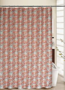 "Waverly, 70""x72"" Beach Social Flamingo Pattern Shower Curtain and 12 Rings Set"