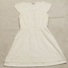 Emmelee Off White Dress Women's Medium Short Sleeve Cotton Nylon Woman's Solid