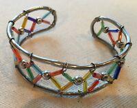 Steampunk Boho Cuff Bracelet Artisan Rainbow Beads Wire Wrap Silver-Tone