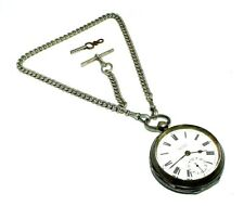 Gents large silver antique pocket watch with original key on an albert chain