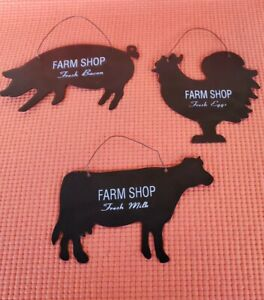 Rustic Farm Animal Hanging Decor Pig Cow Rooster 3pc Set