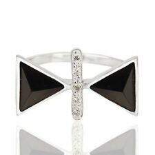 925 Sterling Silver Natural Black Onyx Gemstone Triangle Design Ring Jewelry