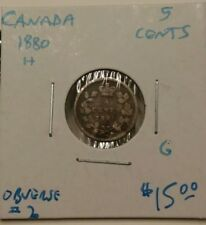 1880-H Obverse 2 Canada 5 Cents Coin Good #AA003