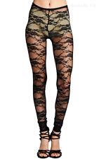 Full Floral Lace Skinny Leg Full Length Long Leggings Casual Nylon Span S M L