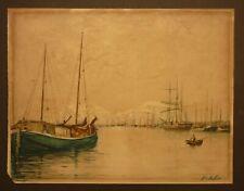 Victorian /  Edwardian Watercolour of Ipswich Docks Suffolk by John C Rees